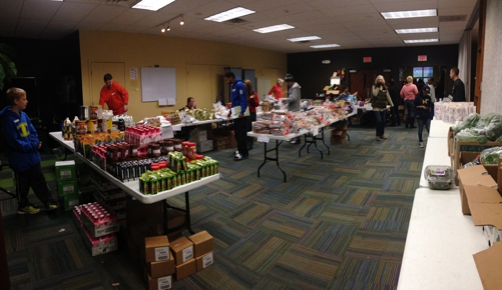 The food pantry is set up and ready to welcome recipients